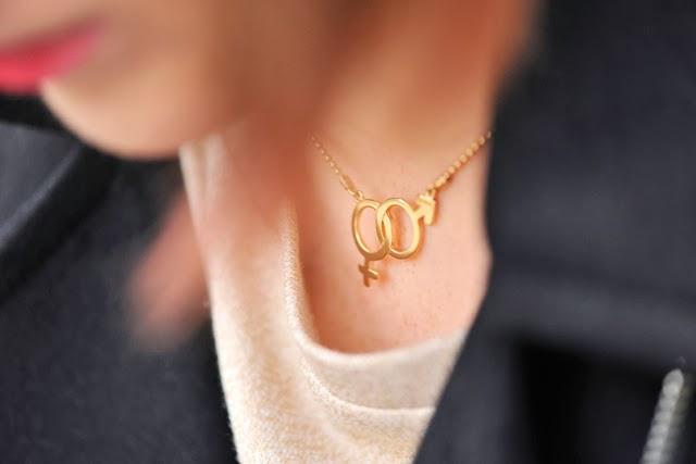naszyjnik złoty znaczek płci