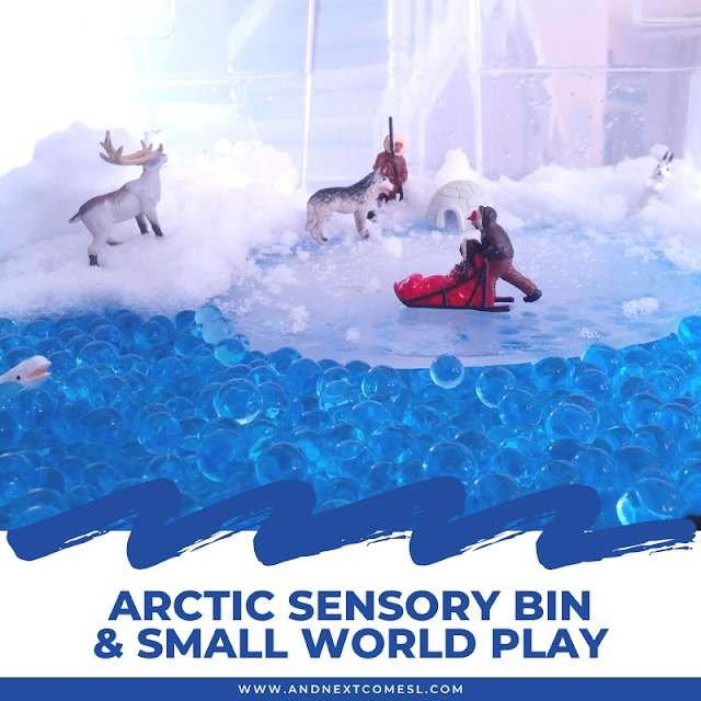 Arctic animals small world play and sensory bin with water beads, snow, and ice