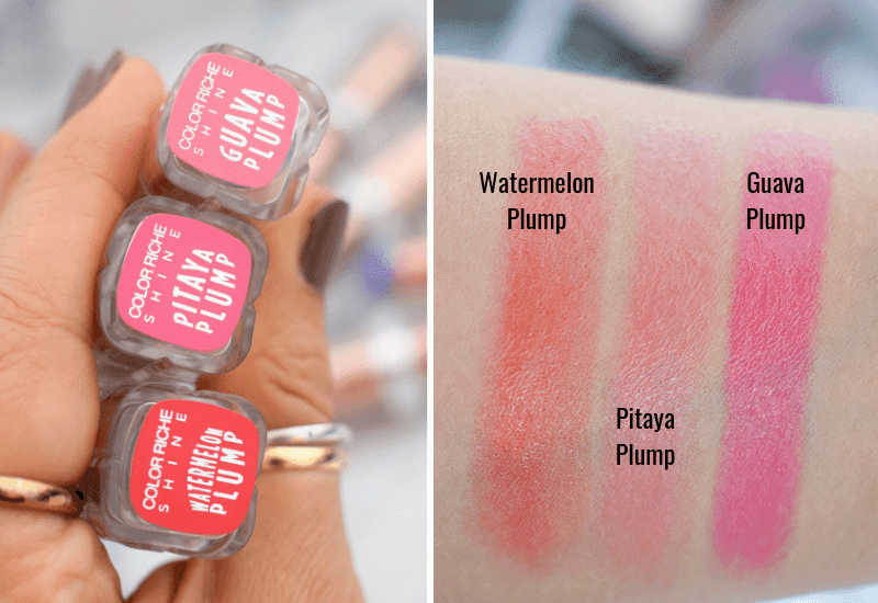 Alle Farben der L'Oréal Paris Color Riche Plump & Shine Lippenstifte im Swatch