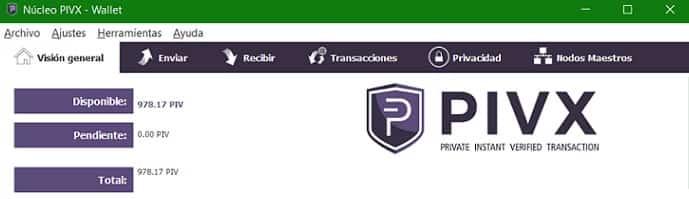 Saldo Actualizado Wallet Monedero PIVX