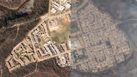 This satellite image shows the Fort McMurray neighbourhood of Abasand on May 1 (left) and May 5 (right). (Credit: Google) Click to Enlarge.