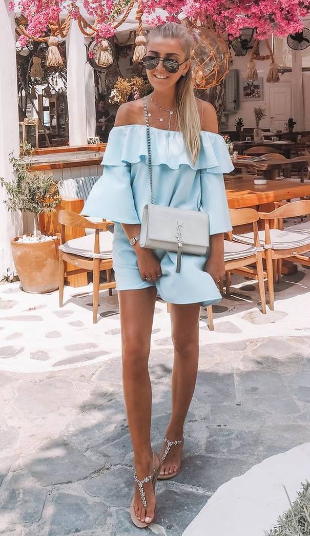 awesome outfit idea / blush ruffle dress + bag + sandals