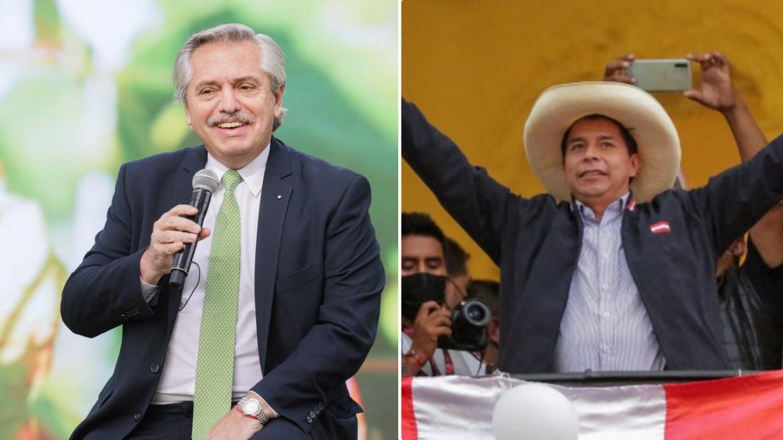 Sin la confirmación oficial, Alberto Fernández felicitó a Pedro Castillo como presidente electo de Perú