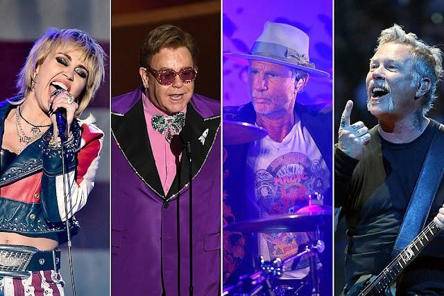 Covers de Metallica de Miley Cyrus, se suman Elton John, Chad Smith, Red Hot Chili Peppers, entre otros
