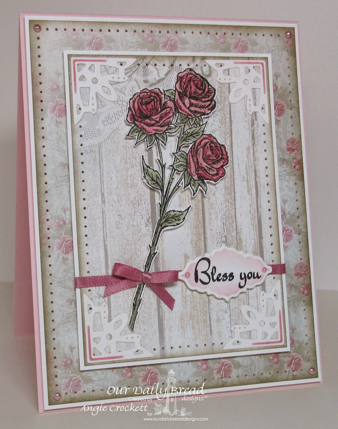 ODBD Rose, ODBD Life is a Gift, ODBD Shabby Rose Paper Collection, ODBD Custom Ornate Borders and Flower Dies, Card Designer Angie Crockett
