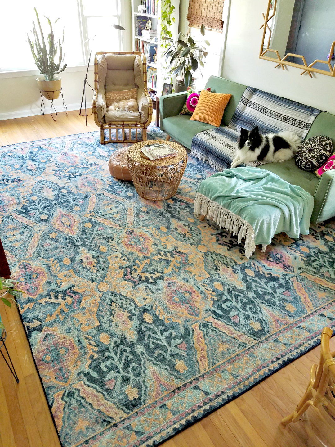 Choosing A Gorgeous Rug For A Moody Boho Living Room Design - TheBohoAbode