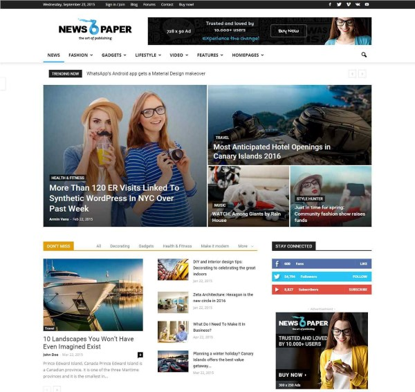 Newspaper blogging theme with great design