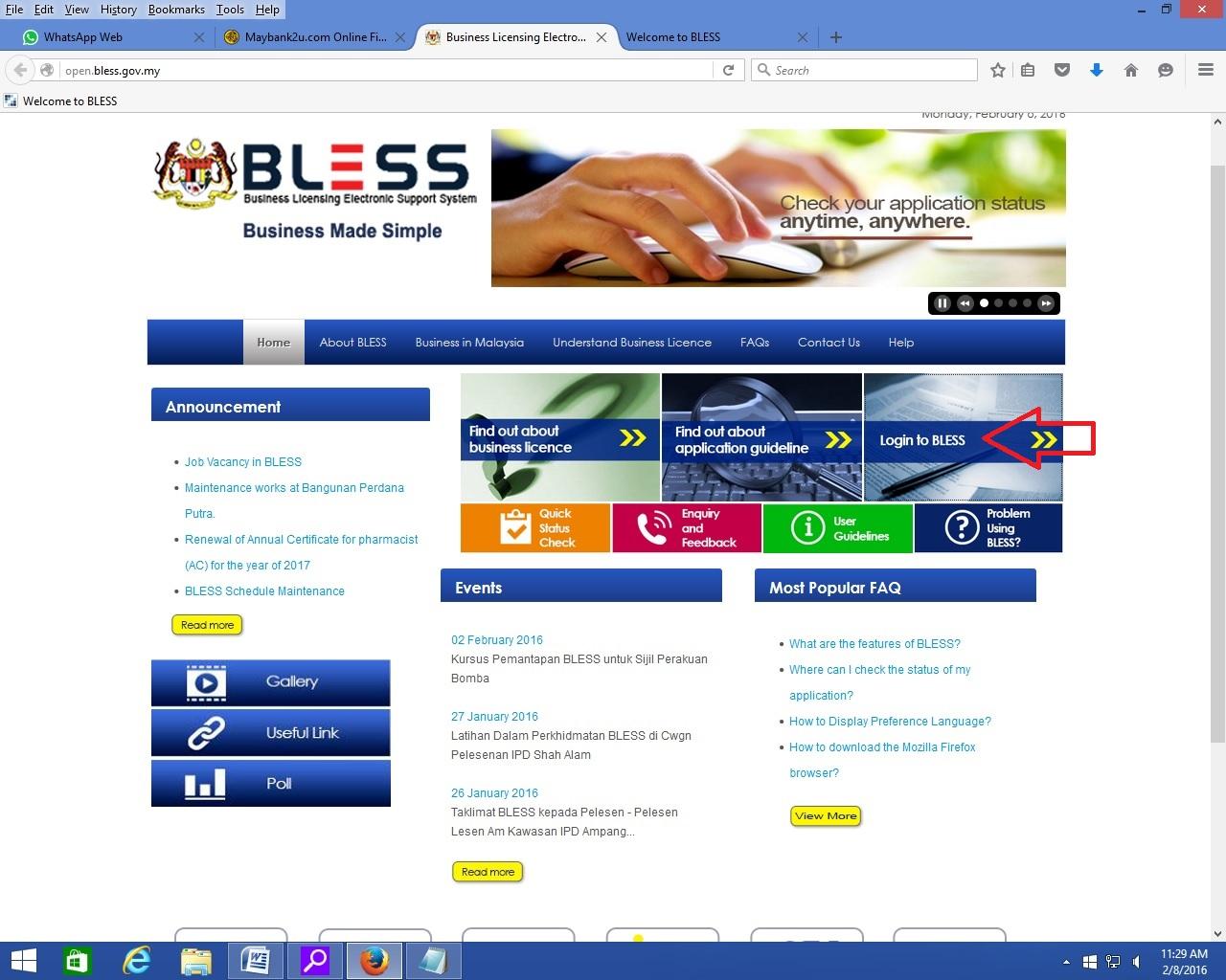 Tutor BLESS :: Tutor 1 : Mendaftar Dengan BLESS