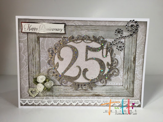 Beautiful 25th Anniversary Card, by Tutti Designs.