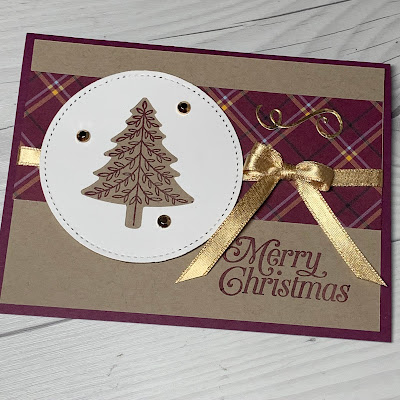 Blackberry Bliss Christmas Tree Christmas Card using Perfectly Plaid Stamp Set