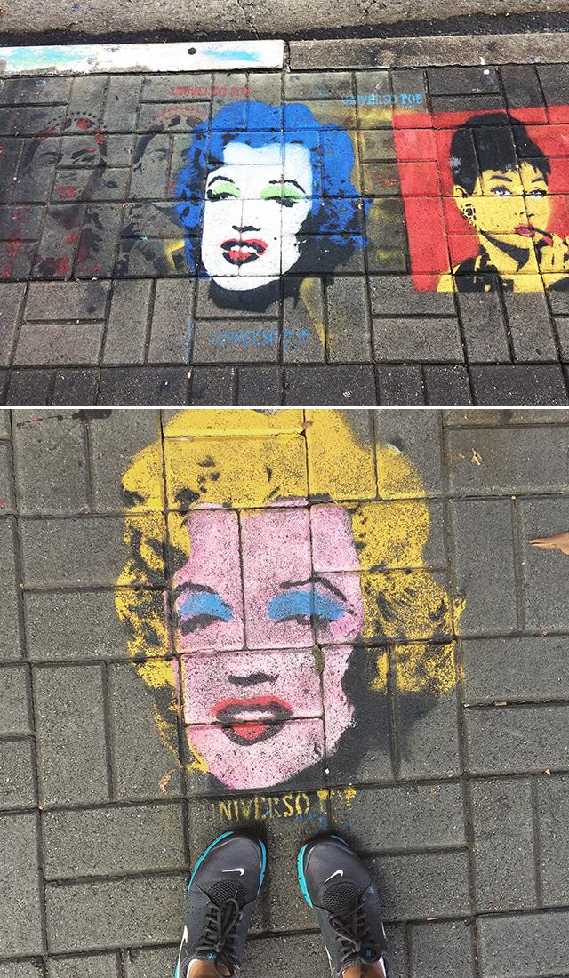 Grafites no chão Rua Augusta