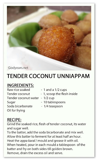 Tender Coconut Unniappam recipe