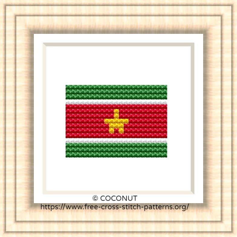 NATIONAL FLAG OF SURINAME CROSS STITCH CHART