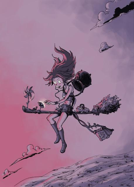 sorcière volante moderne crapaud balais Le Pueblo