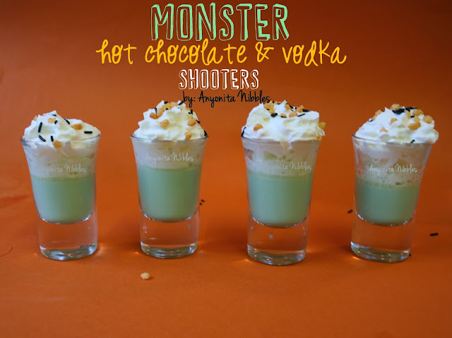 Monster White Hot Chocolate & Vodka Shooters perfect for an adult Halloween party from www.anyonita-nibbles.com