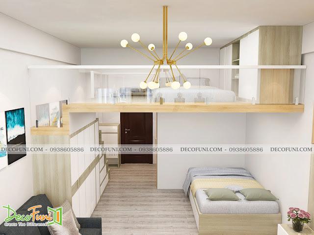 Thiết kế và thi công căn hộ chung cư ~30m2 có gác lửng - Phỏng ngủ và gác lửng
