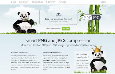 Giao diện website TinyPNG giúp nén hình ảnh tốt nhất