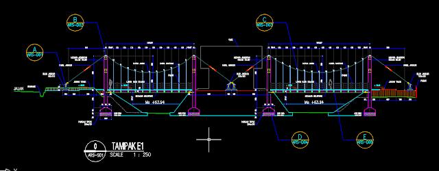 Gambar Kerja Jembatan Gantung DWG