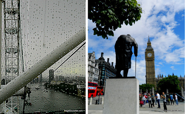 Londres vista do London Eye e a estátua de Winston Churchill próxima ao Parlamento