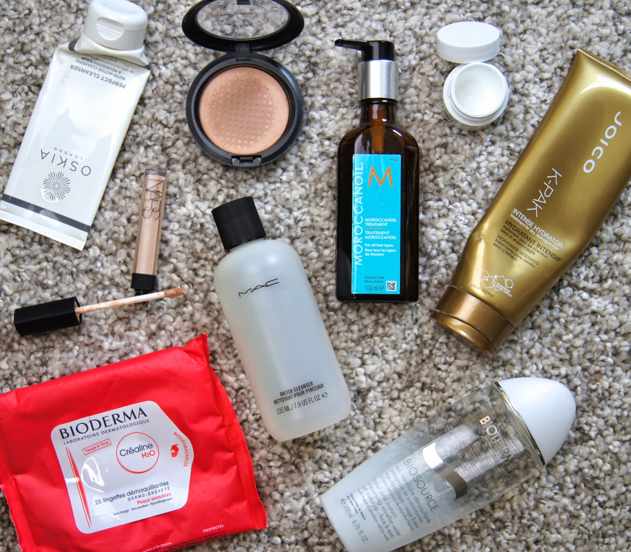 used up empty finished beauty products OSKIA cleanser nars concealer mac brush cleanser moroccan oil hair treatment Kiehl's eye cream bioderma wipes