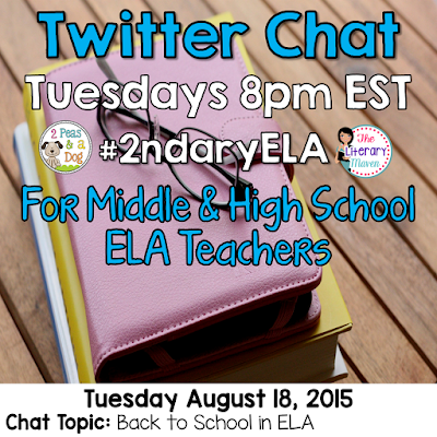 "Join secondary English Language Arts teachers Tuesday evenings at 8 pm EST on Twitter.   Brynn Allison, The Literary Maven & Kristy, 2 Peas and a Dog are hosting #2ndaryELA on Twitter every Tuesday evening from 8 - 9 PM EST.  #2ndaryELA is a weekly chat for secondary English Language Arts teachers focused on a topic.  Every Sunday, we will post the topic and questions on our blogs to allow you to prepare for the upcoming Tuesday evening's chat. Thank you to everyone who joined us last week and we hope that you will join us again.   Join secondary English Language Arts teachers Tuesday evenings at 8 pm EST on Twitter.    Brynn Allison, The Literary Maven & Kristy, 2 Peas and a Dog are hosting #2ndaryELA on Twitter every Tuesday evening from 8 - 9 PM EST.  #2ndaryELA is a weekly chat for secondary English Language Arts teachers focused on a topic.  Every Sunday, we will post the topic and questions on our blogs to allow you to prepare for the upcoming Tuesday evening's chat. Thank you to everyone who joined us last week and we hope that you will join us again.   Join secondary English Language Arts teachers Tuesday evenings at 8 pm EST on Twitter.   On Tuesday, August 4, our #2ndaryELA chat will focus on ELA classroom organization.  The Format: 8:00 Intros – What and where do you teach? Include a link to your blog if you have one. #2ndaryELA 8:05 Q1: How do you keep your desk organized? #2ndaryELA  8:15 Q2: Where/how do you keep student supplies? #2ndaryELA 8:25 Q3: How do you manage your paperwork (grading, work to be returned, etc.)? #2ndaryELA 8:35 Q4: How do you manage student work (writing folders, portfolios, etc.)? #2ndaryELA 8:45 Q5: How do you keep books organized (textbooks, novel sets, classroom library, etc) #2ndaryELA  The Directions: 1. Log into Twitter on Tuesday from 8-9 PM EST. 2. Search for tweets with the hashtag #2ndaryELA in the search bar.  Make sure to click ""All tweets."" 3. Introductions are for the first 5 minutes. 4. Starting at 8:05 (@literarymaven or @2peasandadog) will post questions every 10 minutes using the format Q1, Q2, Q3, etc. and the hashtag #2ndaryELA. 5.  Respond to questions using the format A1, A2, A3, etc. with #2ndaryELA. 6.  Follow any teachers responding and who are also using #2ndaryELA. 7.  Like and respond to other teachers' tweets.  You can schedule your responses to the questions ahead of time using a scheduler like TweetDeck or HootSuite (but don't forget to use A1, A2, etc. and #2ndaryELA). Links are encouraged, so be sure to use a link shortener like tinyurl, bitly, goo.gl or ow.ly  Just visit one of those links and paste your long link to shorten it for Twitter. Using images is also encouraged when relevant.  New to chats? Here are the rules: 1. Stay on topic & stay positive! 2. Please do not post or promote paid products unless specifically asked.  3. If you arrive late, try to look through other posts before beginning. 4. Feel free to just read, like, and/or retweet. 5. Always use our hashtag #2ndaryELA, including in your replies to others. 6. Make sure your twitter feed is set to public. (Also keep in mind that Twitter is completely public – that means students, parents, and administrators can and will read what you tweet.)   Be sure to spread the word to any teacher friends who might be interested in joining us as well. We look forward to chatting with you Tuesday evening!  On Tuesday, August 11, our #2ndaryELA chat will focus on managaing student behavior in the ELA classroom.  The Format: 8:00 Intros – What and where do you teach? Include a link to your blog if you have one. #2ndaryELA 8:05 Q1: What are your top three routines/procedures that keep your class running smoothly? #2ndaryELA  8:15 Q2: What are problematic student behaviors in your classroom? What do you struggle with most? #2ndaryELA 8:25 Q3: What are successful classroom management strategies in your classroom/school? #2ndaryELA 8:35 Q4: How do you and your colleagues support each other? How does your admin support you #2ndaryELA 8:45 Q5: Share a classroom management resource that you find invaluable (book, article, blog post, type of technology, reward system, etc.). #2ndaryELA  The Directions: 1. Log into Twitter on Tuesday from 8-9 PM EST. 2. Search for tweets with the hashtag #2ndaryELA in the search bar.  Make sure to click ""All tweets."" 3. Introductions are for the first 5 minutes. 4. Starting at 8:05 (@literarymaven or @2peasandadog) will post questions every 10 minutes using the format Q1, Q2, Q3, etc. and the hashtag #2ndaryELA. 5.  Respond to questions using the format A1, A2, A3, etc. with #2ndaryELA. 6.  Follow any teachers responding and who are also using #2ndaryELA. 7.  Like and respond to other teachers' tweets.  You can schedule your responses to the questions ahead of time using a scheduler like TweetDeck or HootSuite (but don't forget to use A1, A2, etc. and #2ndaryELA). Links are encouraged, so be sure to use a link shortener like tinyurl, bitly, goo.gl or ow.ly  Just visit one of those links and paste your long link to shorten it for Twitter. Using images is also encouraged when relevant.  New to chats? Here are the rules: 1. Stay on topic & stay positive! 2. Please do not post or promote paid products unless specifically asked.  3. If you arrive late, try to look through other posts before beginning. 4. Feel free to just read, like, and/or retweet. 5. Always use our hashtag #2ndaryELA, including in your replies to others. 6. Make sure your twitter feed is set to public. (Also keep in mind that Twitter is completely public – that means students, parents, and administrators can and will read what you tweet.)   Be sure to spread the word to any teacher friends who might be interested in joining us as well. We look forward to chatting with you Tuesday evening!"