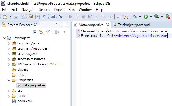 Selenium properties File