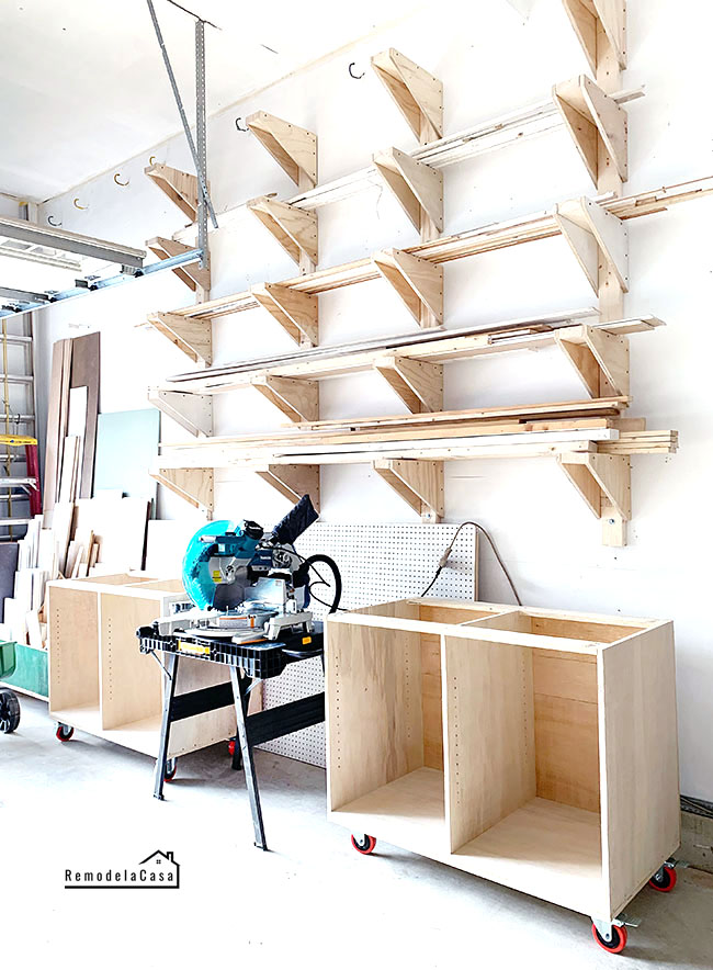 garage shop organization with a miter saw station for a Makita miter saw