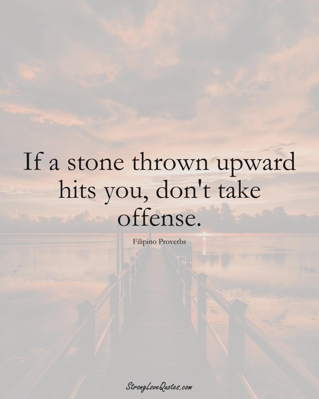 If a stone thrown upward hits you, don't take offense. (Filipino Sayings);  #AsianSayings
