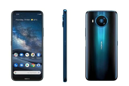 The Nokia 8.3 5G mobile phone is listed in a retail store in the United Kingdom