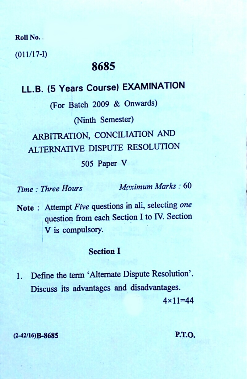 Previous Old Paper Of Arbitration Conciliation For LLB