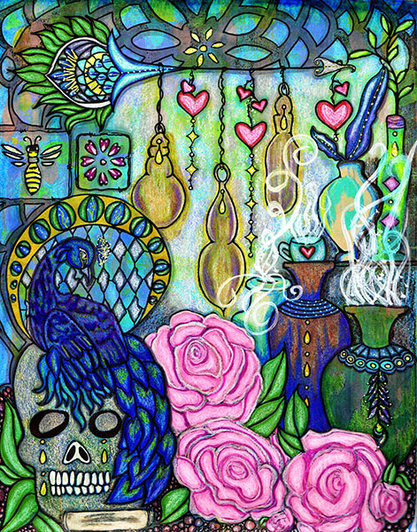 mixed media by kimberly mcguiness with jars, a skull, a peacock, pink roses and hearts