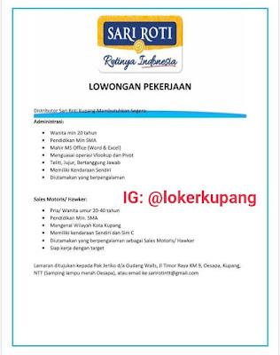 Lowongan Kerja Sari Roti Kupang Sebagai Administrasi & Sales Motoris/Hawker