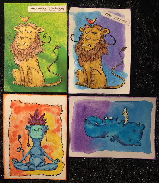 Lion, Yoga and Flying Hippo ATC (Artist Trading Card)