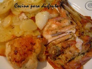 receta Pollo al horno con patatas