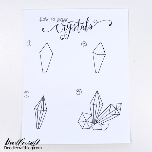 How to draw crystal clusters in 4 easy steps.