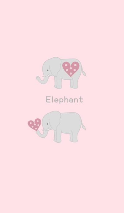Elephant - Pink Love Heart