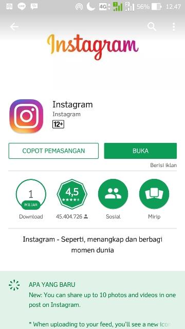 cara daftar instagram via android