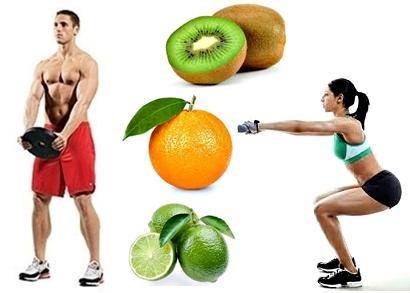 Nutrición frutas naranja limón kiwi masa muscular
