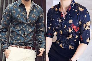 Two guys wearing flower printed shirt in different designs