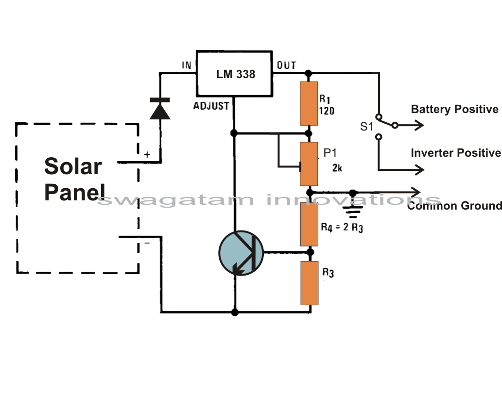 wiring diagram for solar panel to battery recessed can light simple charger circuit