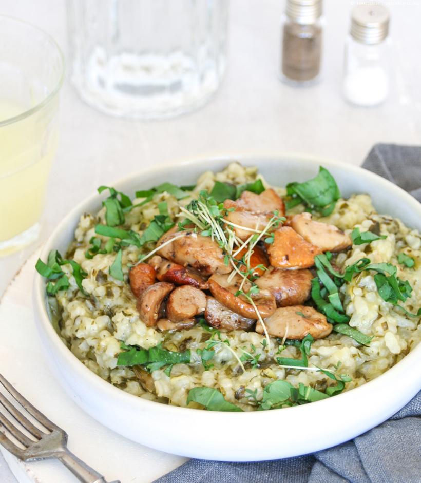 veganes Bärlauch-Risotto mit Pilzen