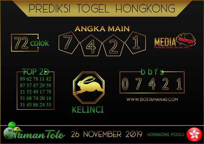 Prediksi Togel HONGKONG TAMAN TOTO 26 NOVEMBER 2019