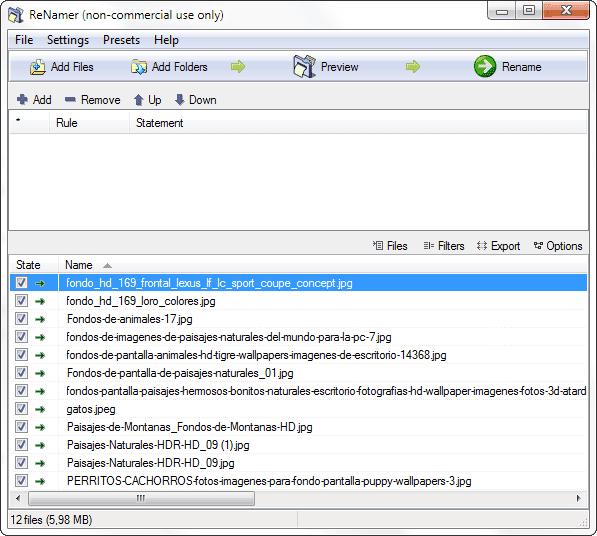 Renamer con los archivos cargados
