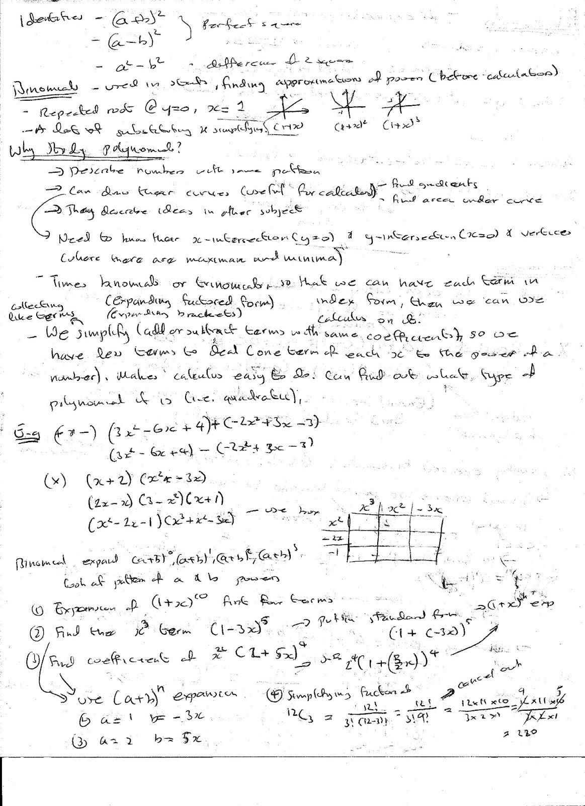 A Level Maths Notes Polynomials