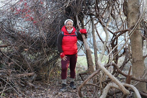 Black woman hiking in the woods