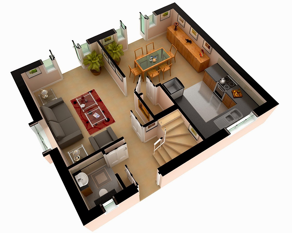 Here Sharing Few 3D Home Floor Layouts With Furniture Setting And Other  Designing Work..! Its A Residential 3D Floor Plans With Furniture Layout.
