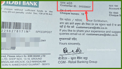 IDBI Bank Customer id in Account Statement