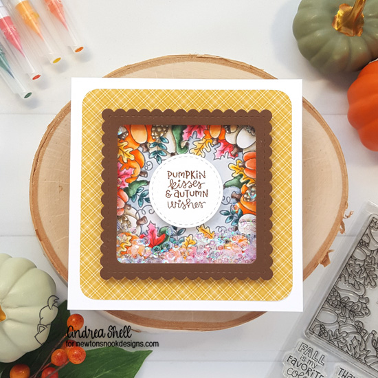 Pumpkin Kisses Shaker Card by Andrea Shell | Fall Fringe Stamp Set and Frames Squared Die Set by Newton's Nook Designs #newtonsnook #handmade