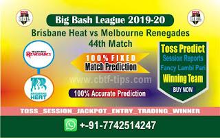 cricket prediction 100 win tips Brisbane vs Renegades