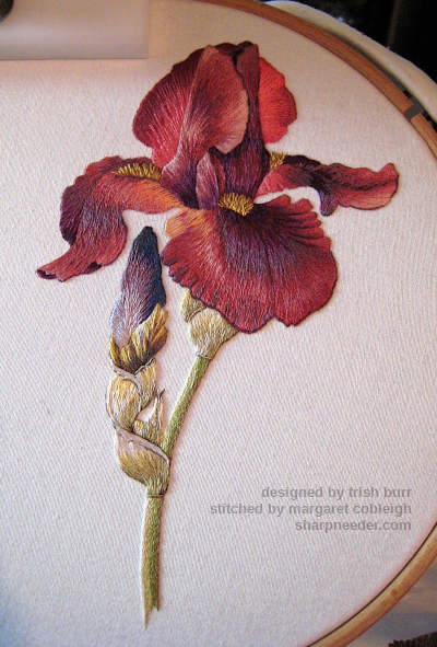 Completed embroidery - Iris Spartan (design by Trish Burr)